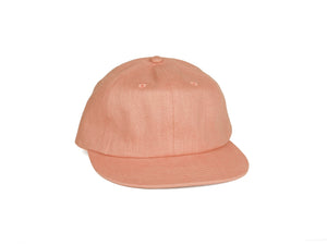 Linen Unstructured Flat Brim - Salmon