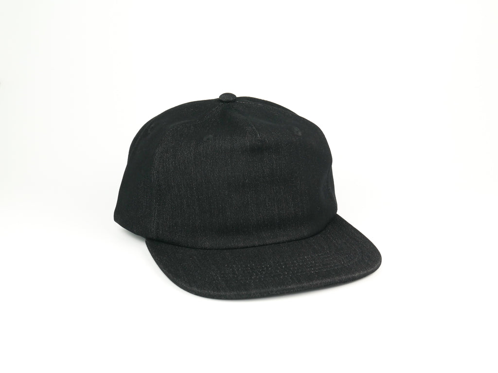 Thick Cotton Half Struct Snap Back - Black