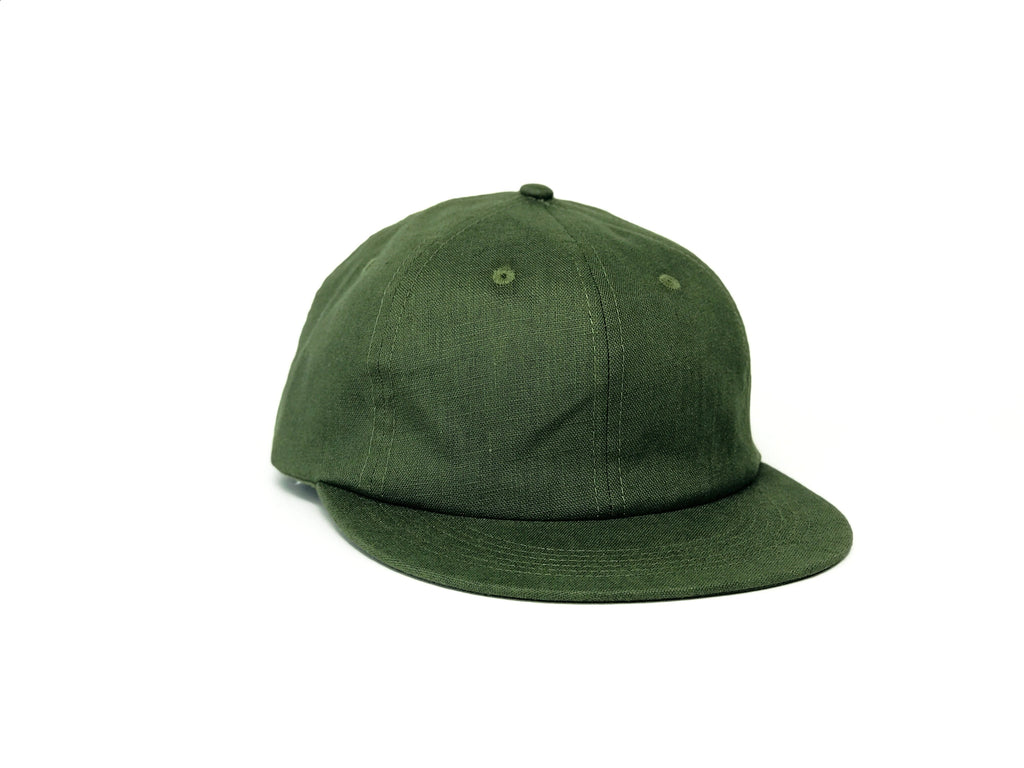 Linen Unstructured Flat Brim - Forest