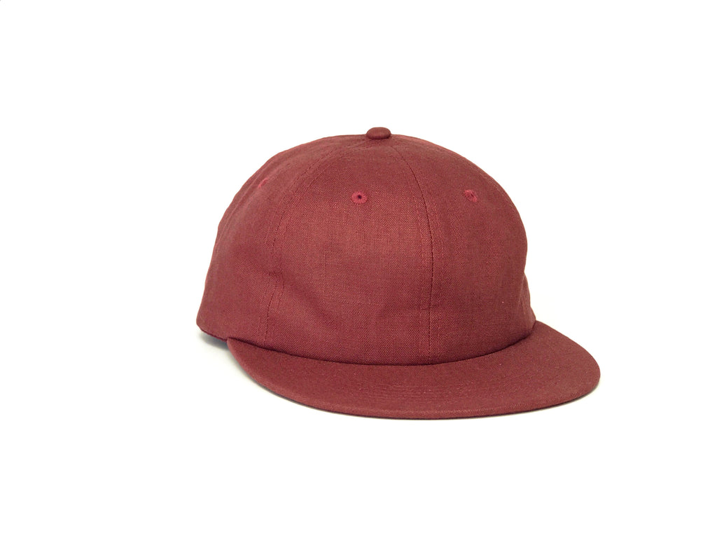 Linen Unstructured Flat Brim - Burgundy
