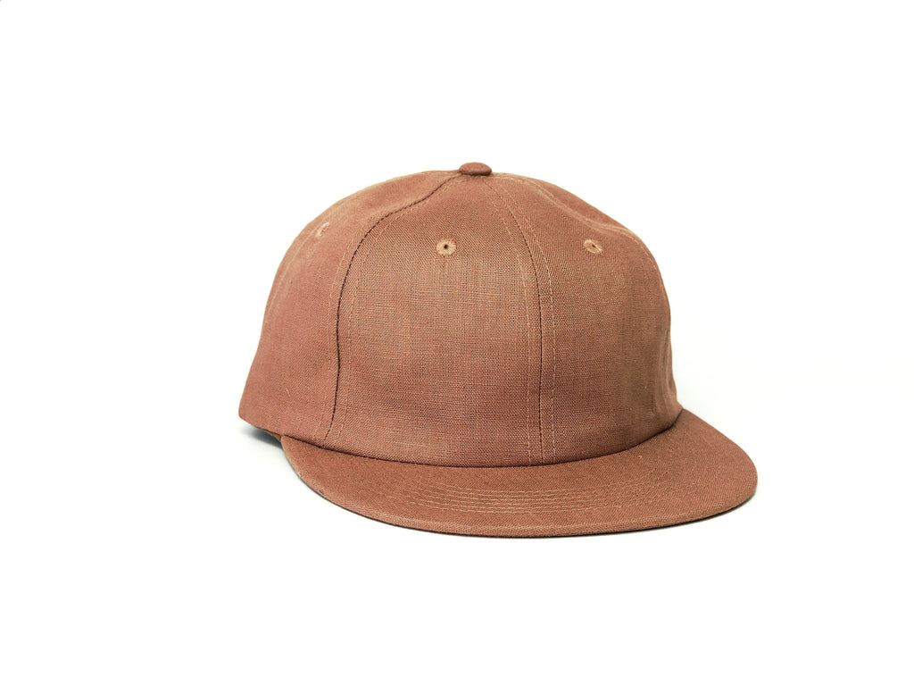 Linen Weave Unstructured Flat Brim - Rust