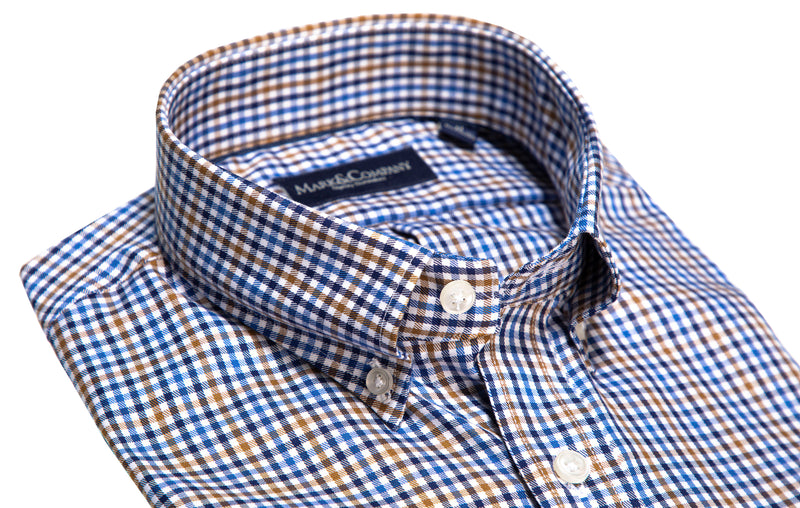Khaki and Navy Blue Tattersall Check Button Down Shirt