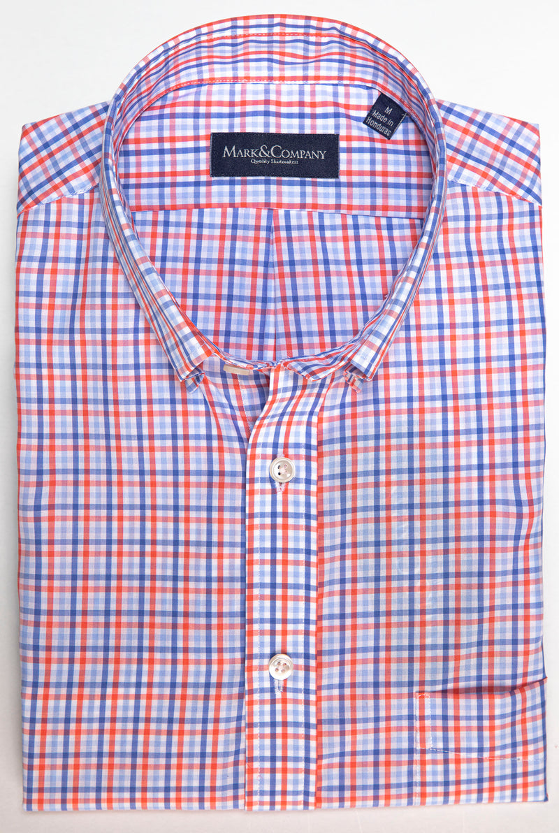 Orange and Blue Tattersall Check Button Down Shirt