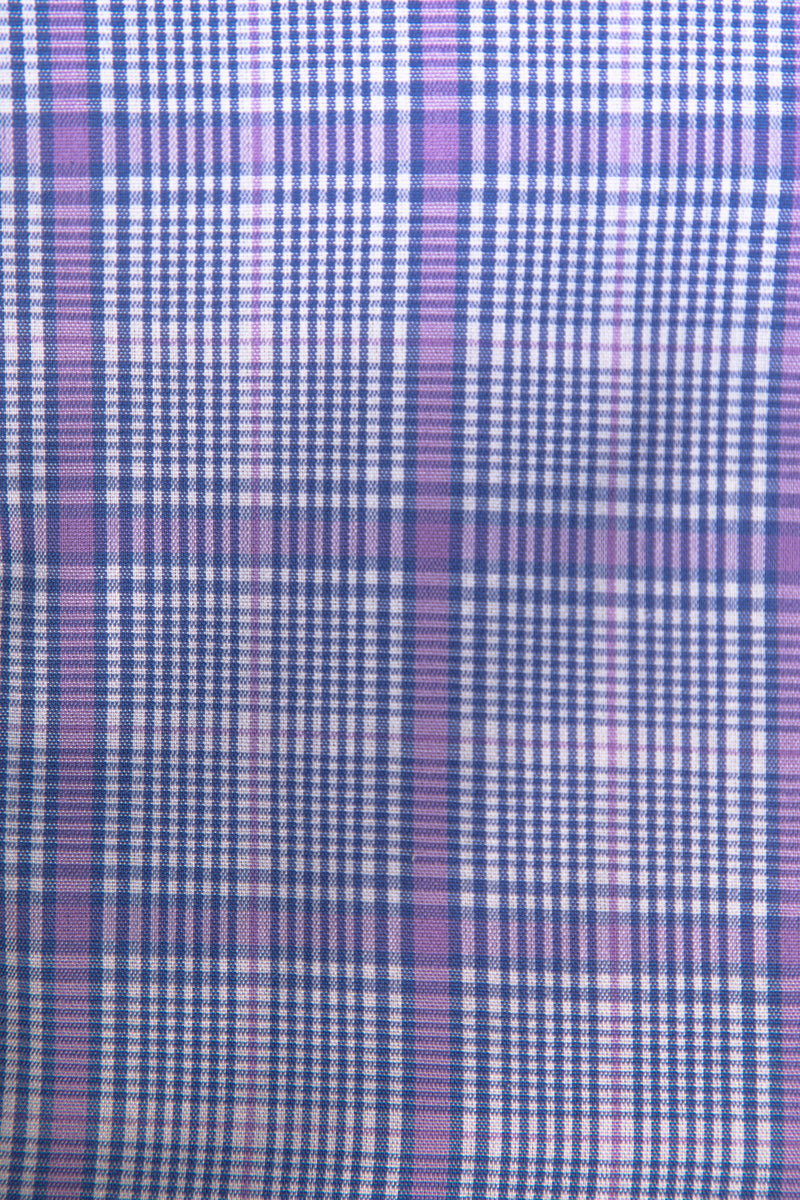 Purple and Blue Glen Check Button Down Shirt