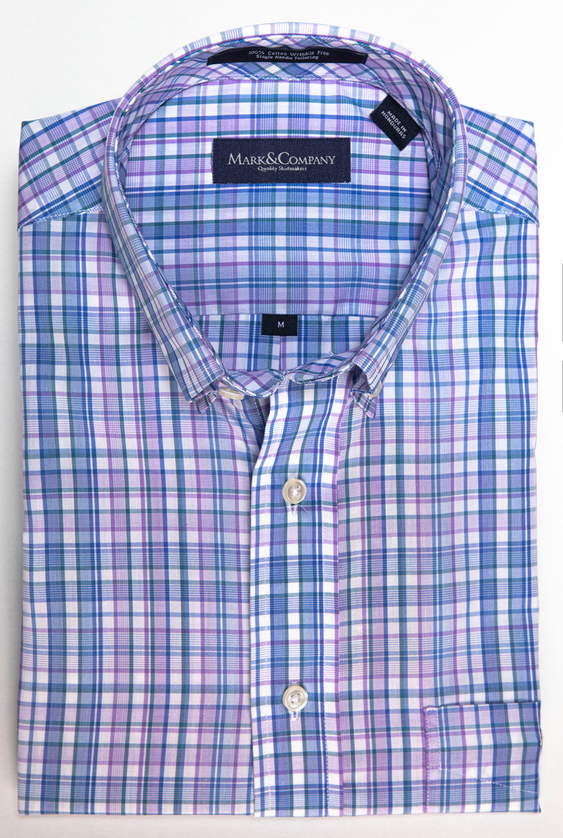 Purple, Blue and Green Madras Plaid Button Down Shirt