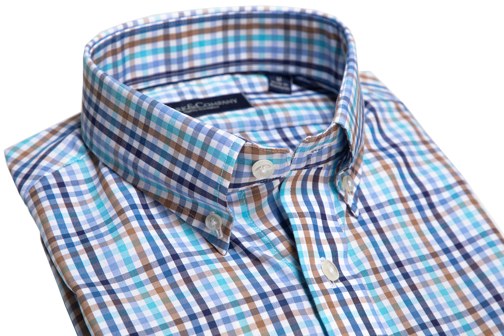 Khaki and Blue Hues Tattersall Check Button Down Shirt