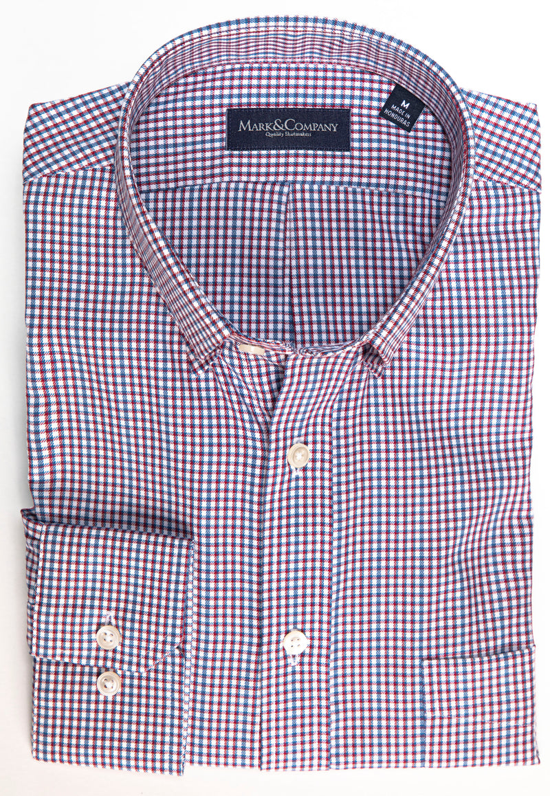 Maroon Red and Navy Blue Pin Check Button Down Shirt