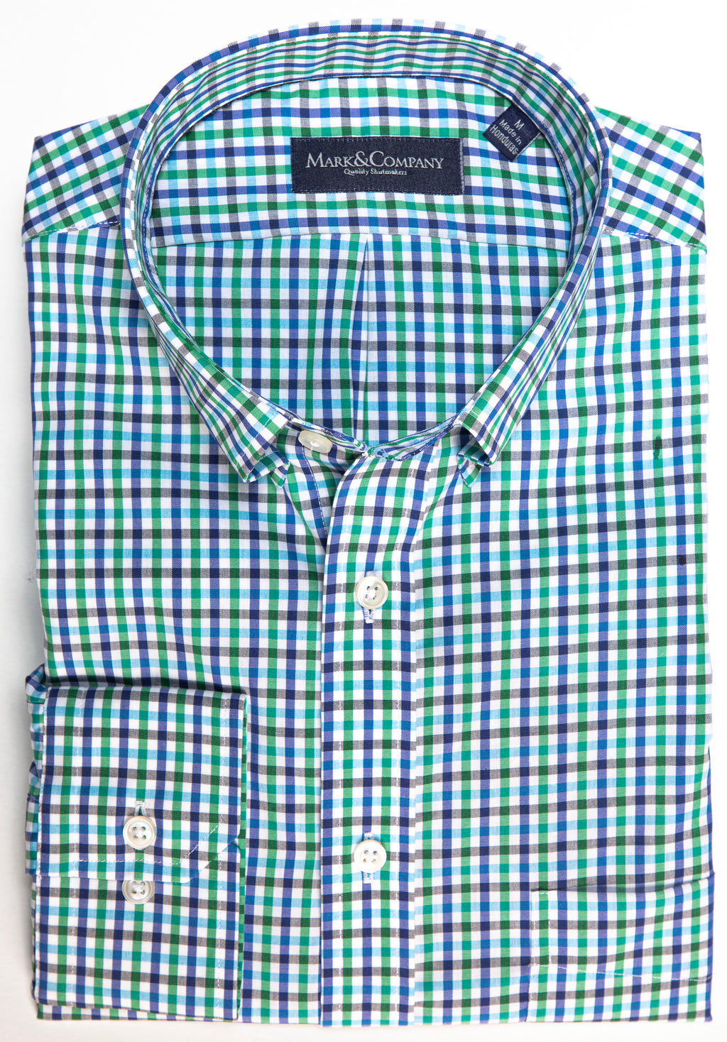 Green and Blue and Gray Tattersall Check Button Down Shirt