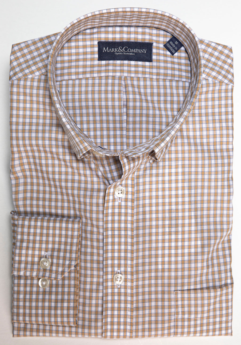 Khaki Gingham Button Down Wrinkle Free Shirt