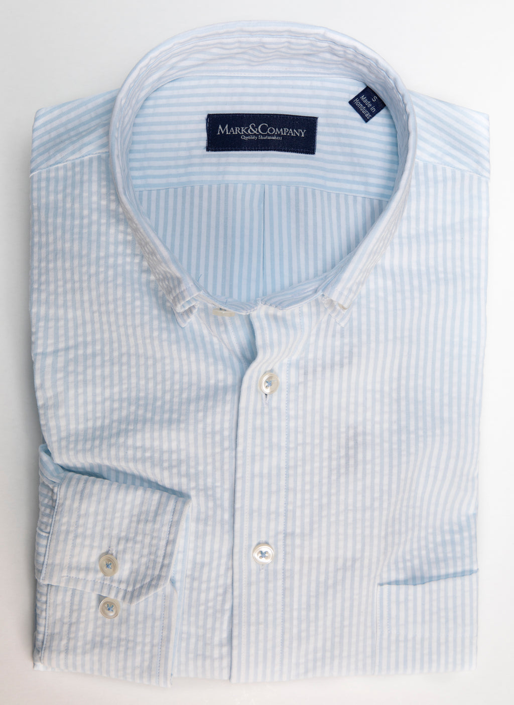 Light Blue and White Stripe Seersucker Button Down Shirt