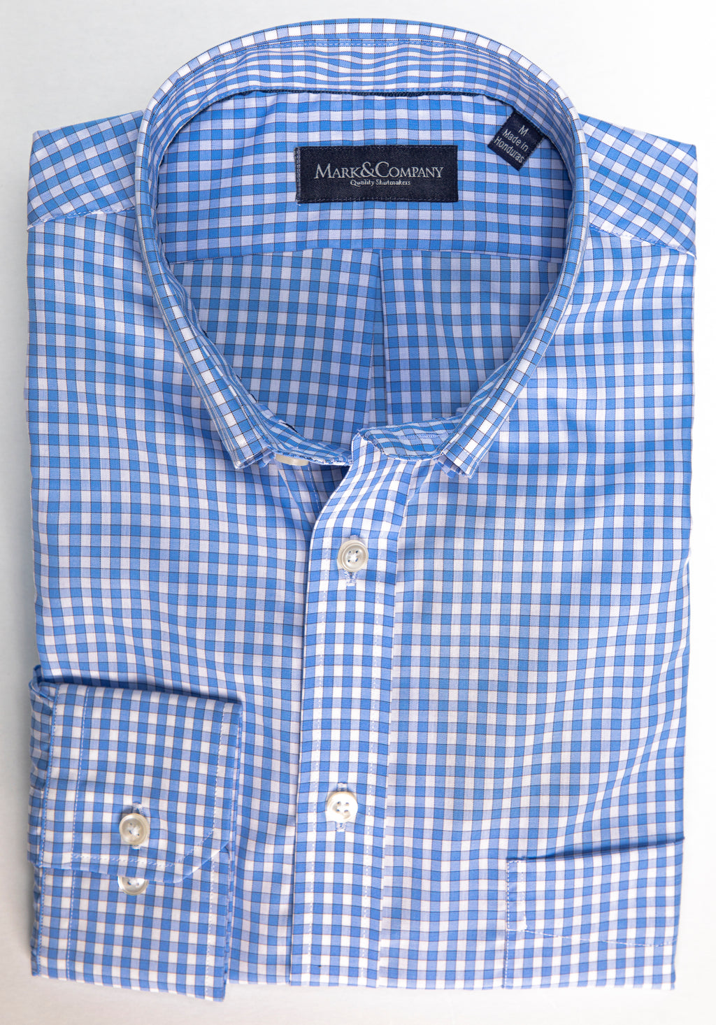 Light Blue Gingham Button Down Wrinkle Free Shirt