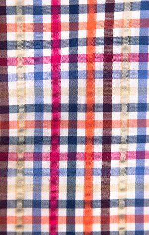 Multi Color Tattersall Check Seersucker Button Down Shirt