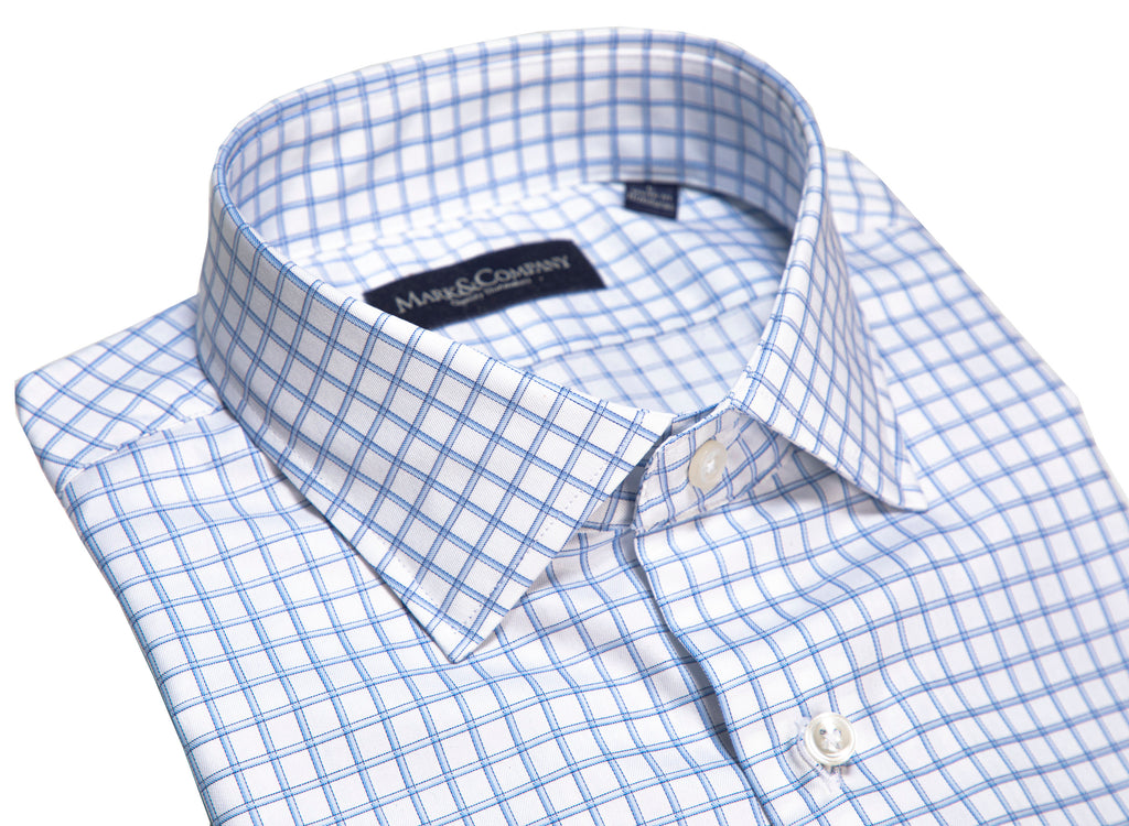 Light Blue Windowpane Check Spread Collar Shirt