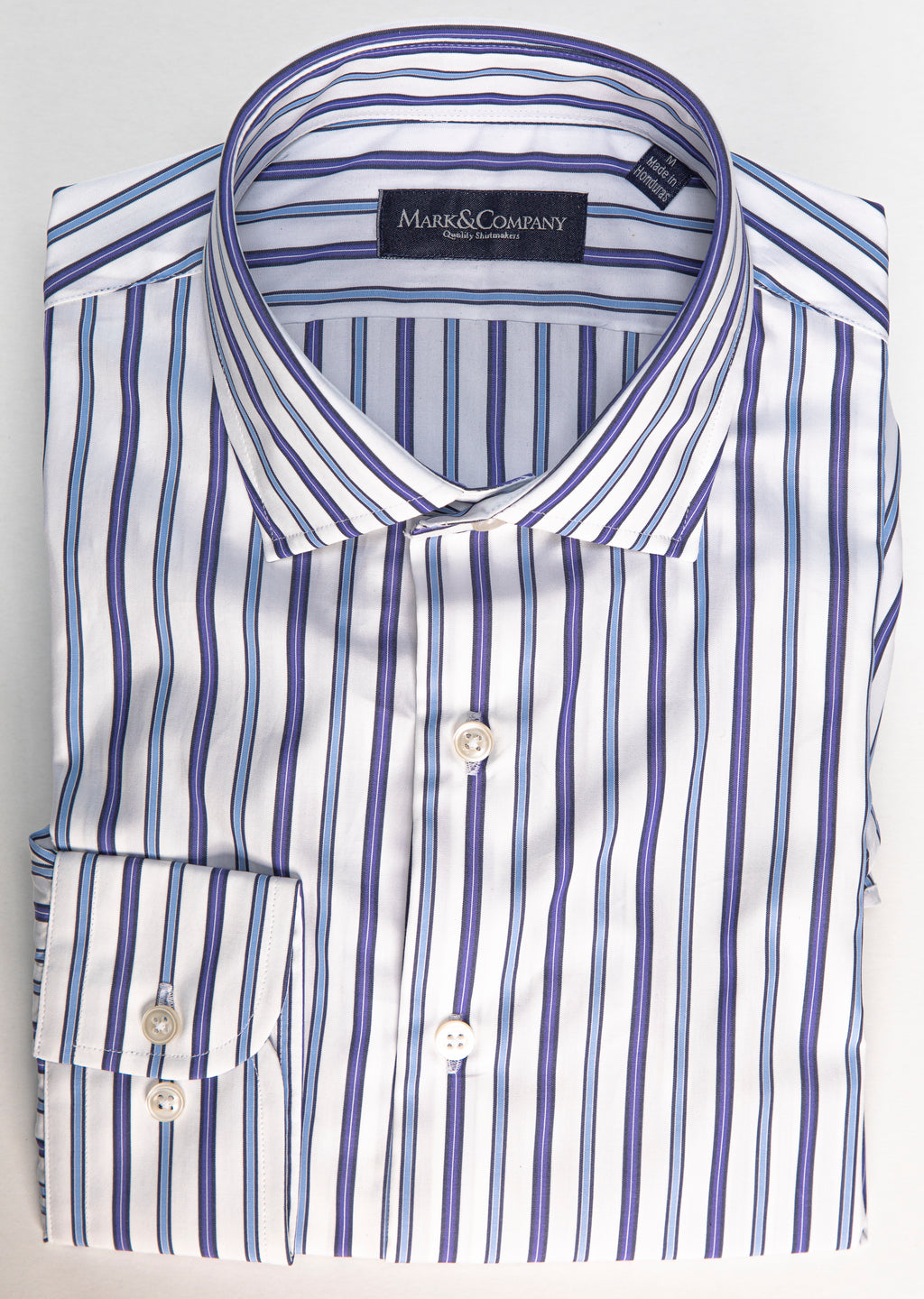 Light Blue, Navy and White Wide Vertical Stripe Classic Shirt