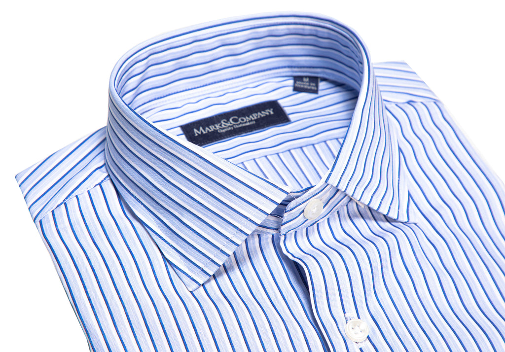 Light Blue, Navy and White Vertical Stripe Classic Shirt