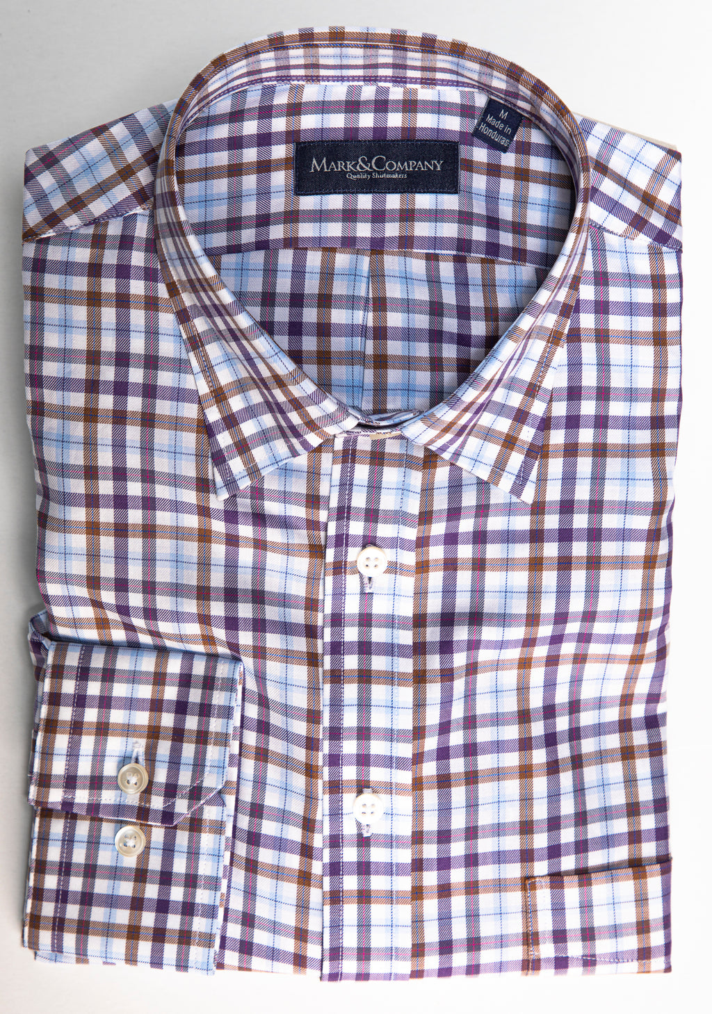 Espresso, Purple and Light Blue Tattersall Check Classic Shirt