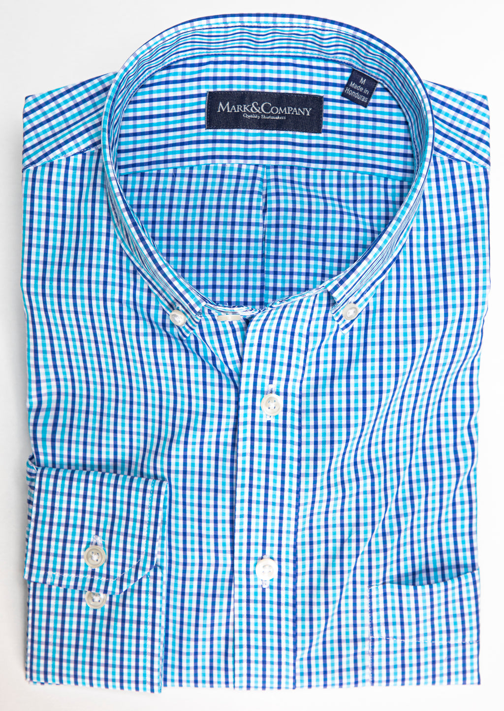 Aqua and Blue Window Pane Button Down Shirt