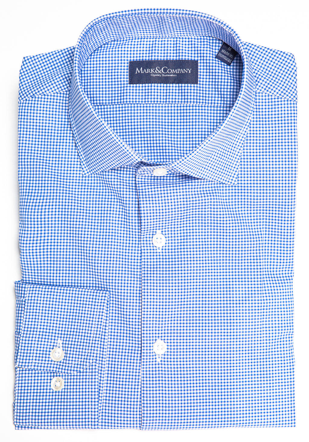 Classic Blue Mini Check Spread Collar Shirt