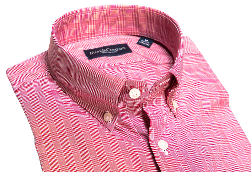 Crimson Red Glen Plaid Button Down Shirt