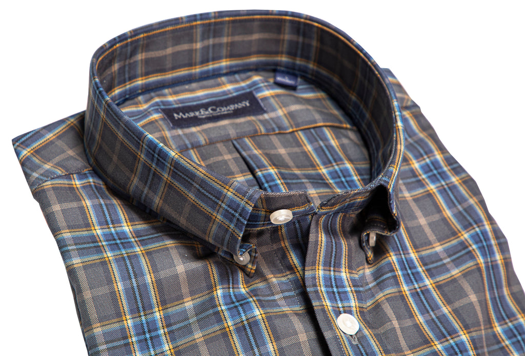 Gray, Blue and Mustard Tartan Plaid Button Down Shirt