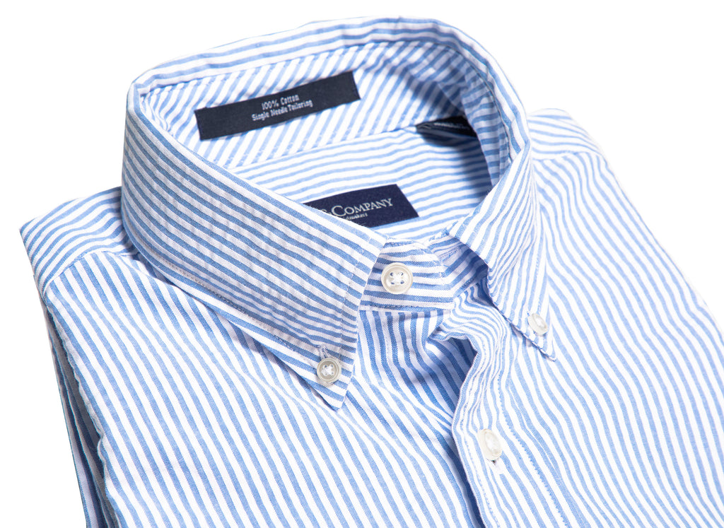 Blue and White Stripe Seersucker Button Down Shirt
