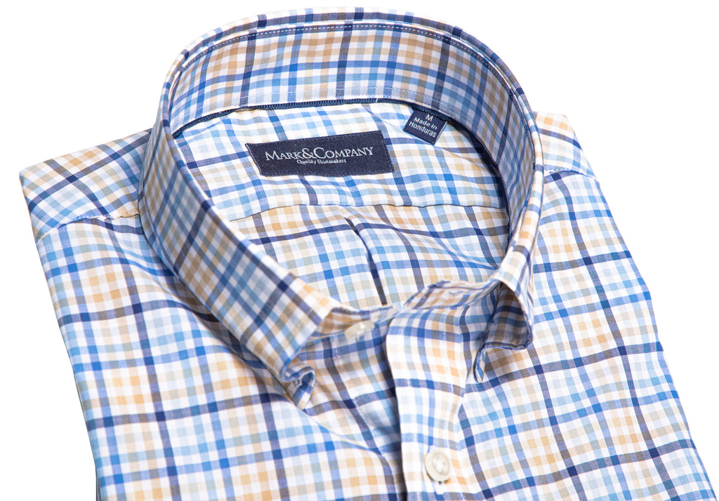 Khaki, Navy and Light Blue Madras Plaid Button Down Shirt