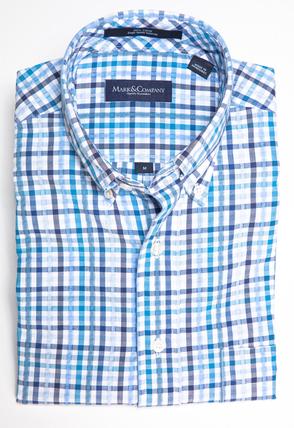 Light Blue and Navy Tattersall Check Seersucker Button Down Shirt