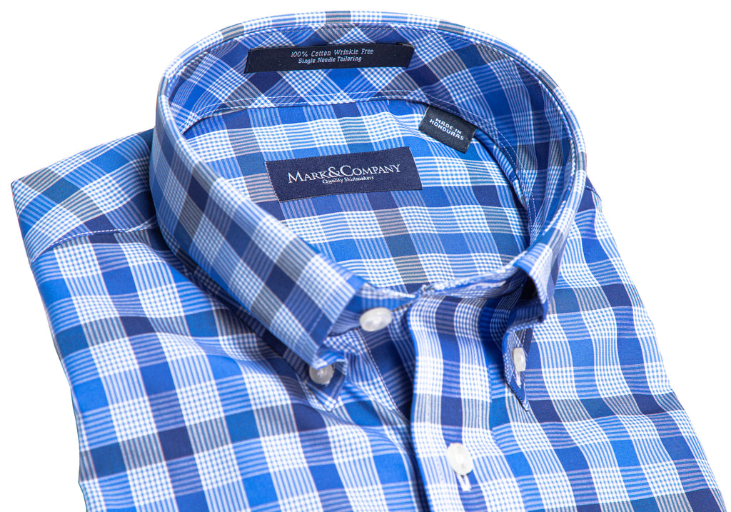 Blue, Navy and White Royal Check Button Down Shirt