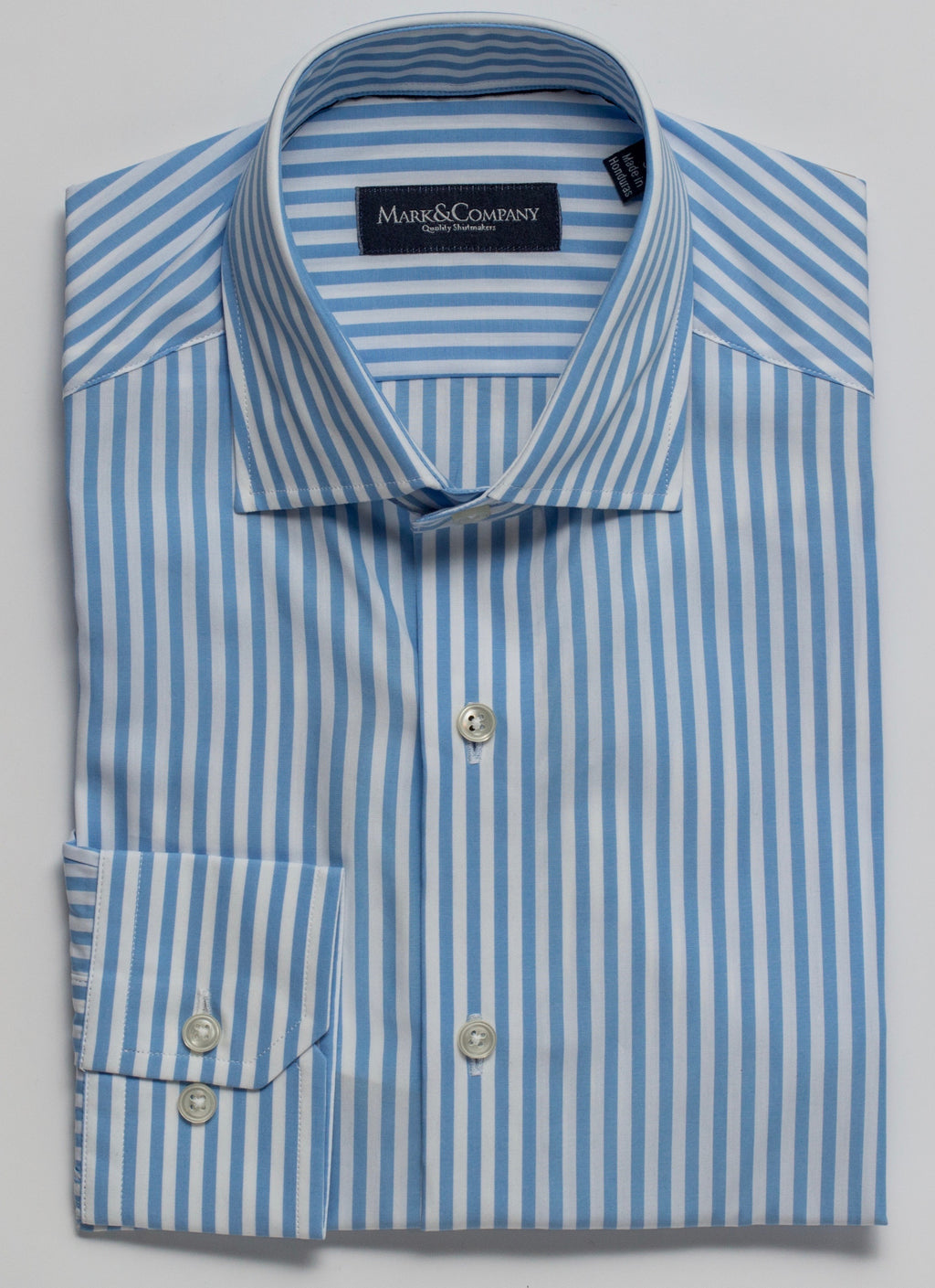 Light Blue Striped Poplin Casual Sport Shirt