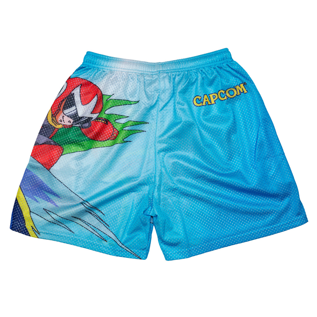 Mega Man Full Print Blue Retro Capcom Mesh Shorts