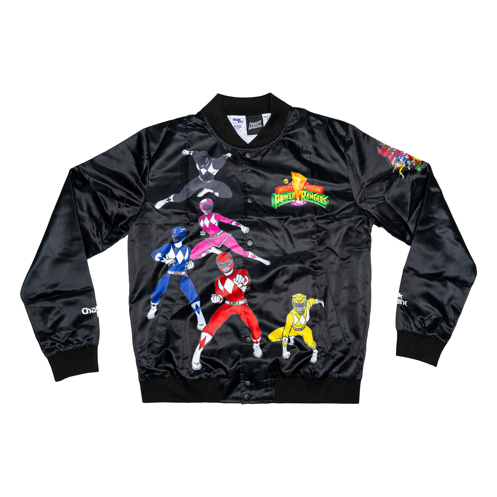 Power Ranger Black Satin Logo Jacket