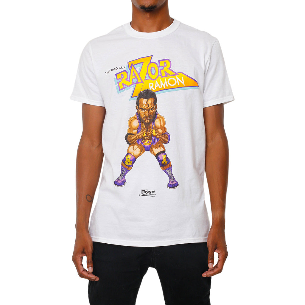 WWE Retro Razor Ramon Illustrated Salem Sportswear White T-Shirt