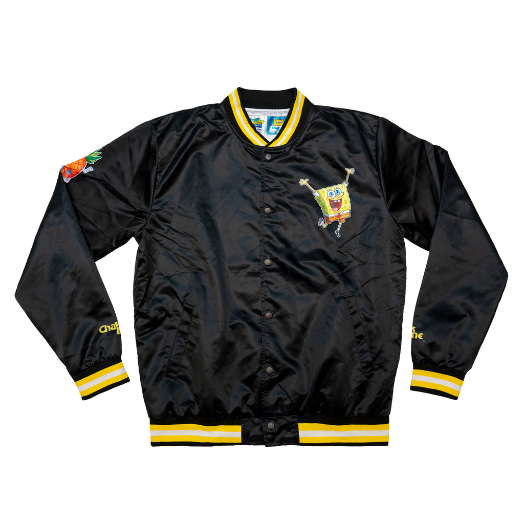 Spongebob Black Retro Satin Logo Jacket