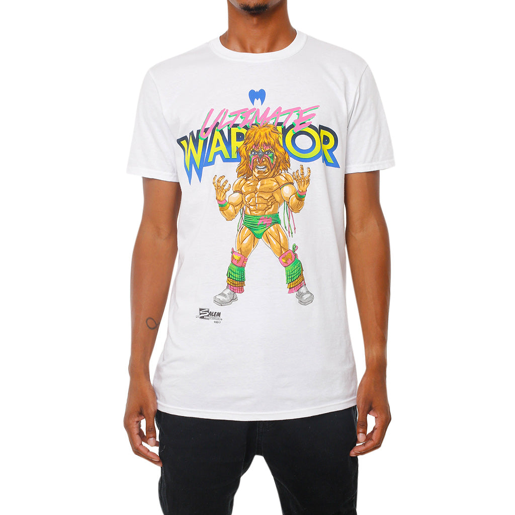 WWE Retro Ultimate Warrior Illustrated Salem Sportswear White T-Shirt