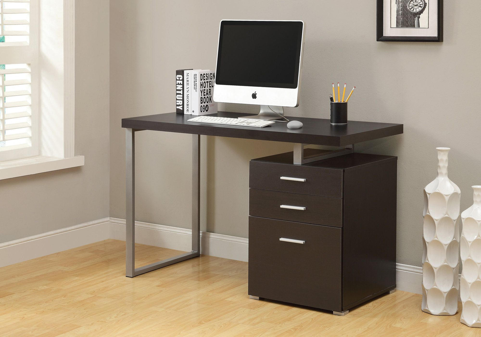 black foxhunter wood computer foldable pc stand htm laptop dark chair folding desk swivel table picture up