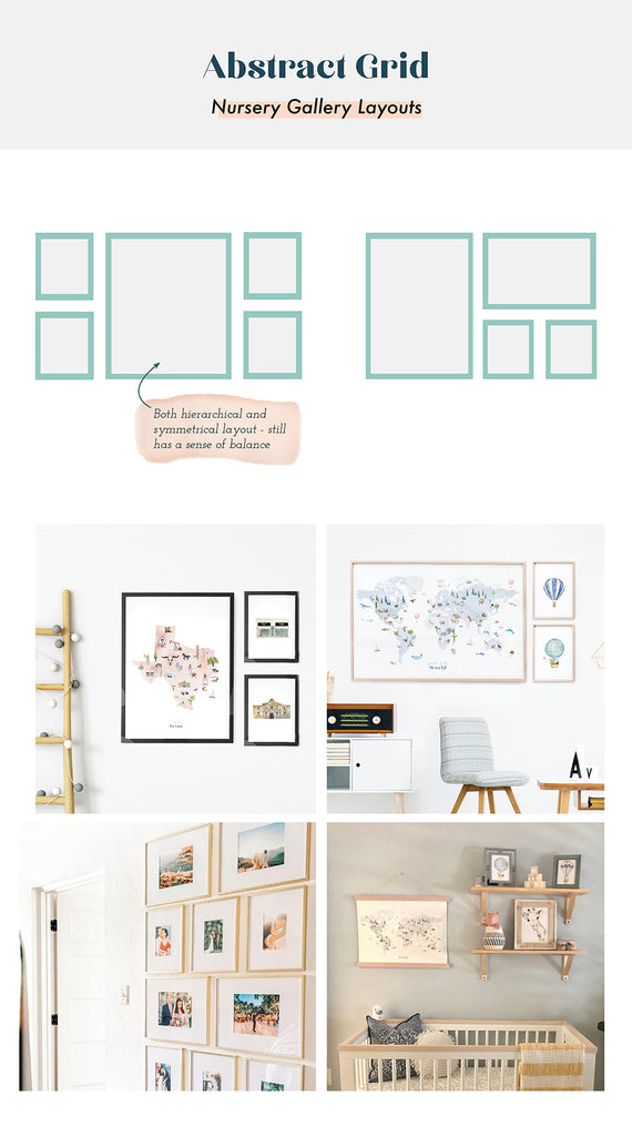 Abstract grid layout for nursery gallery wall