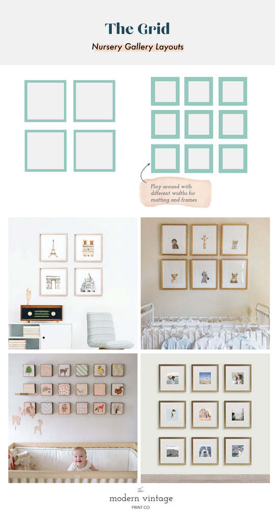 Grid Gallery Layouts nursery gallery wall inspiration