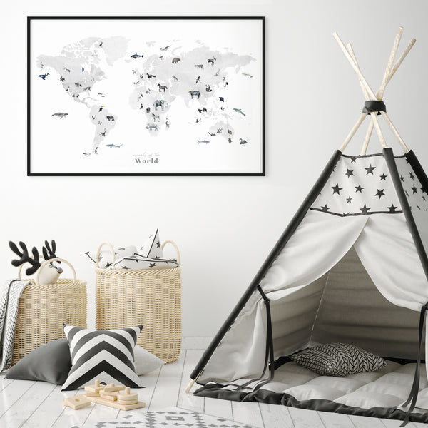 animal world map print scandinavian nursery