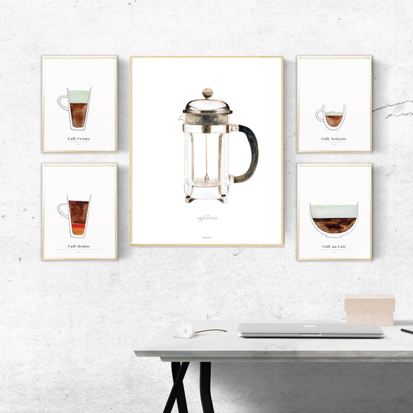 Coffee art print gallery wall set