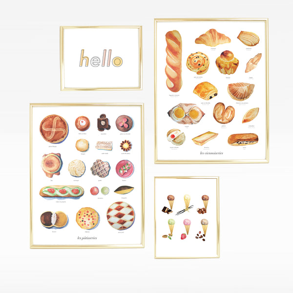 Kitchen Desserts Pastries Gallery Wall Print Sets