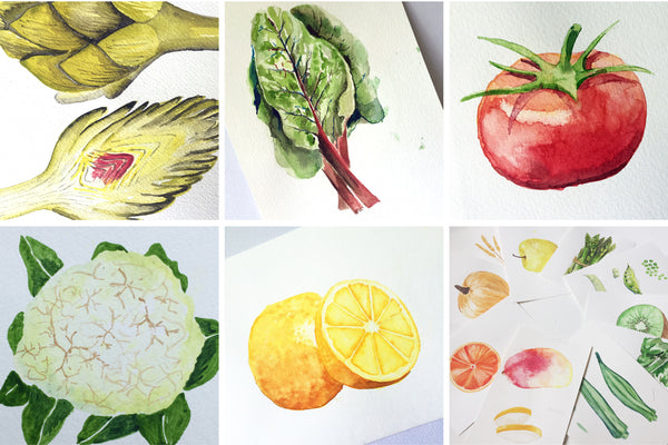 Seasonal Produce watercolors