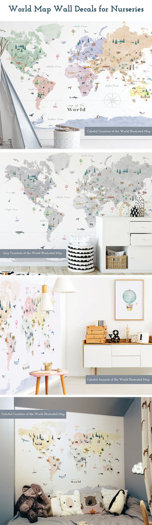 world map wall decals for nurseries