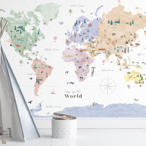 world map countries of the world map decal nursery