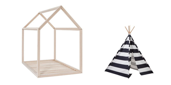 montessori bed and teepee scandinavian nursery