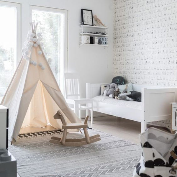 black and white scandinavian nursery
