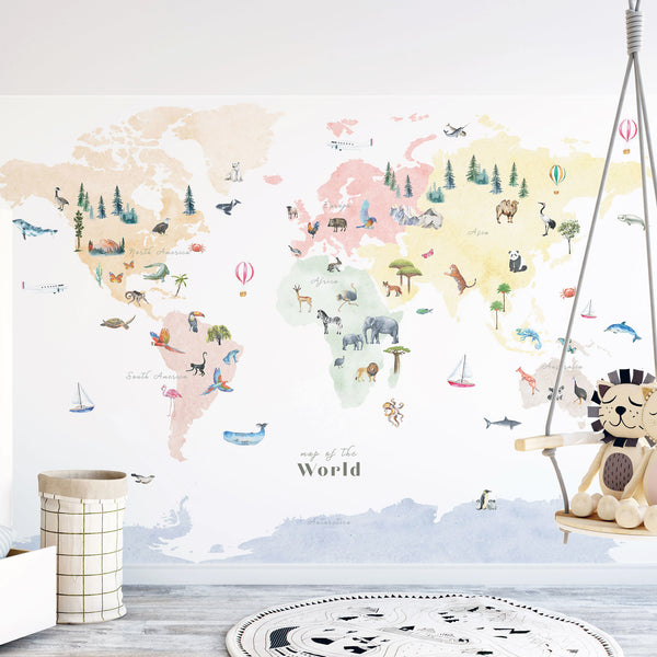 Wall decal colorful world map nursery room