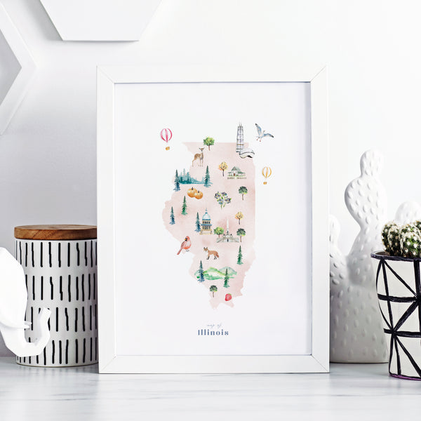 Illinois Illustrated State Map Art Print
