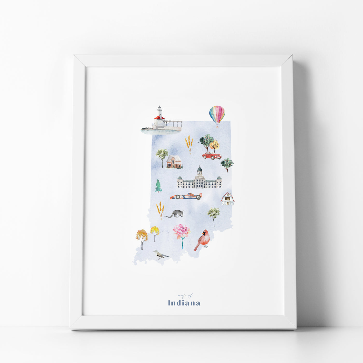 Indiana Illustrated State Map Art Print