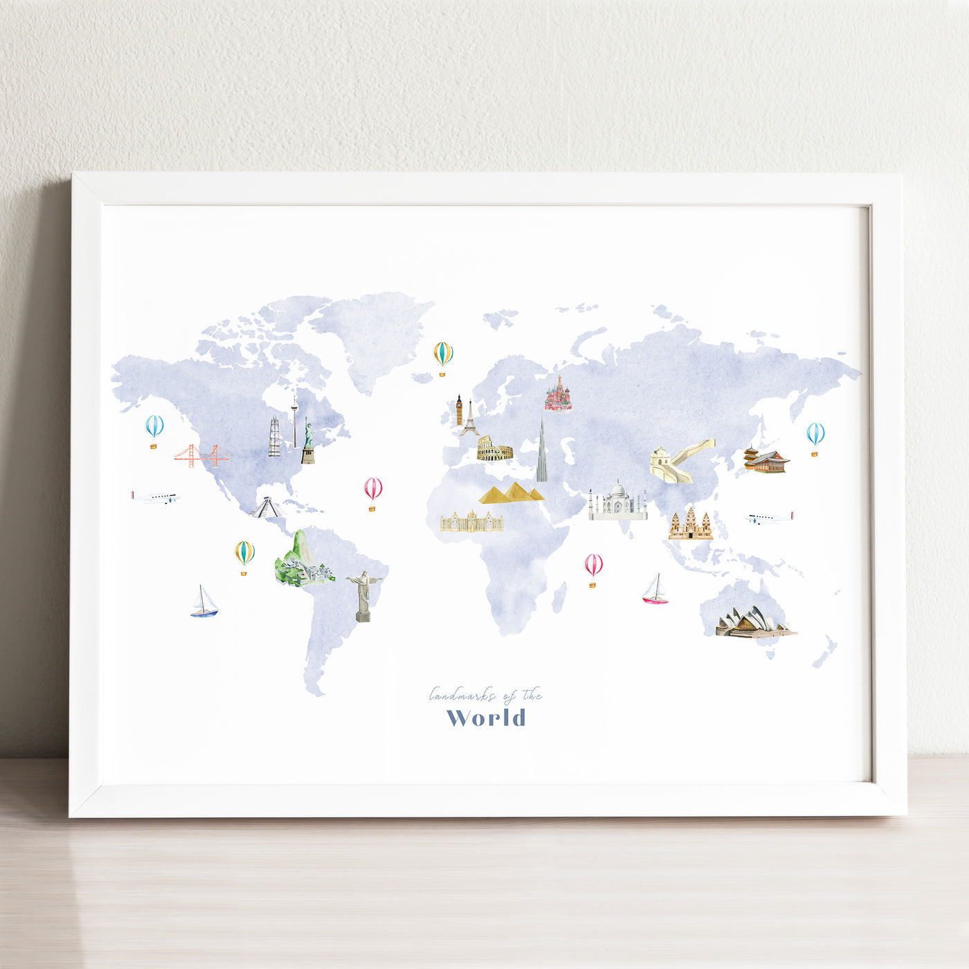 Landmarks of the World Map Art Print