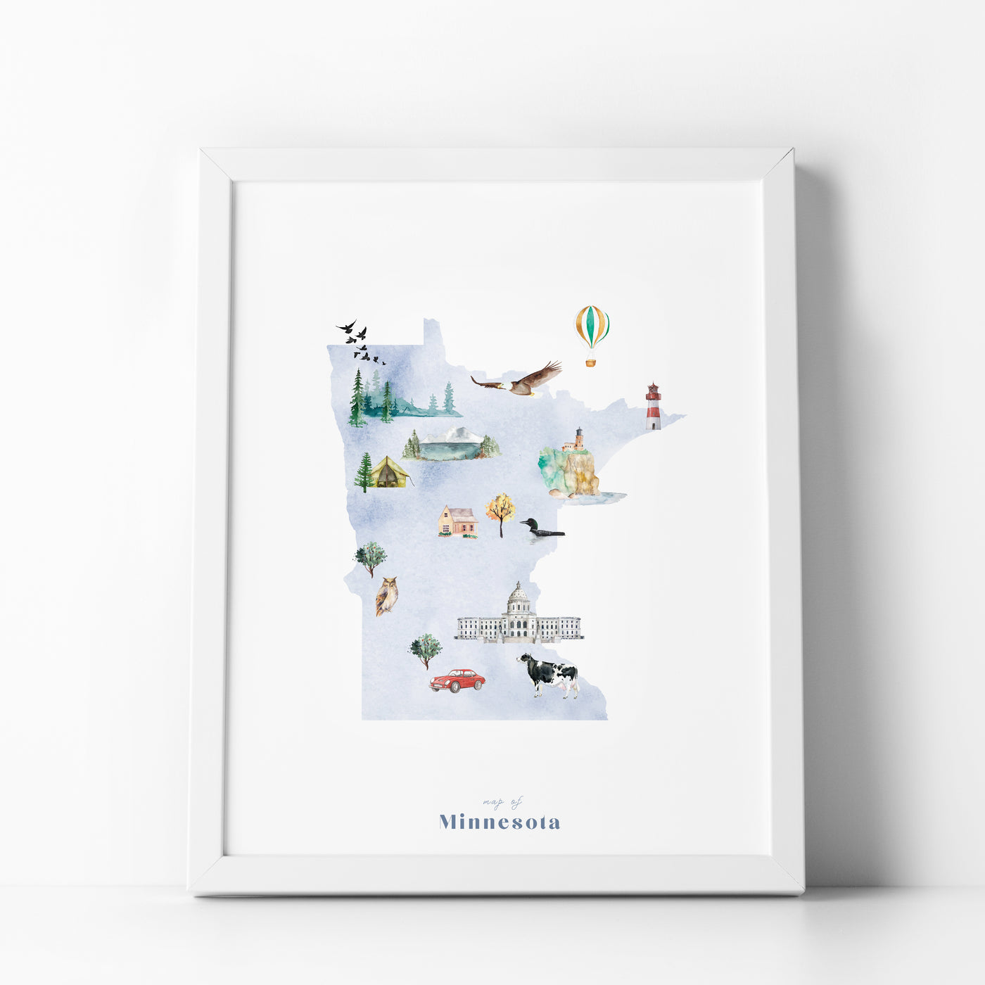 Minnesota Illustrated State Map Art Print